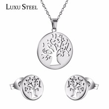 Exclusive Love Tree Necklace Pendant With Earrings Jewelry Sets Made Of Unfading 316L Stainless Steel Two Colors , Without Chain(China (Mainland))