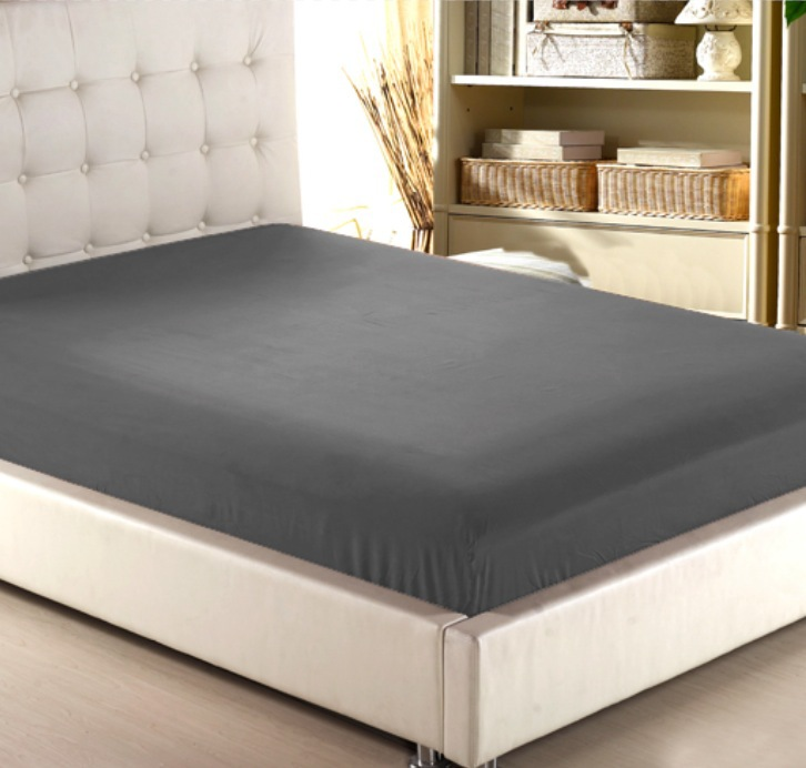 Deep Grey Wholesale Solid Color Fitted Sheet Home Textile
