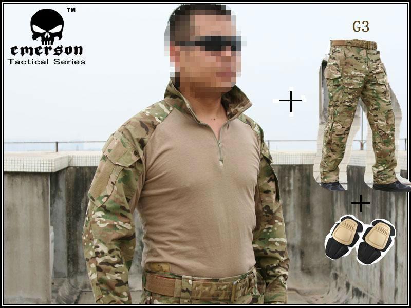 Hunting clothing Emerson G3 Combat uniform shirt & Pants & knee pads Military Army uniform MultiCam suit(China (Mainland))