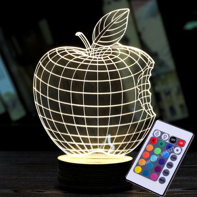 Fashion Home Decoration 3D APPLE NIGHT LAMP Acrylic Wood Mood Lamp Bulbing Light For Bedroom Christmas Gift Birstday Gift(China (Mainland))