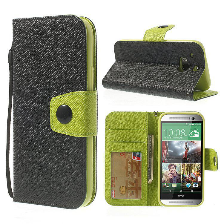 For HTC One M8 Case Contrasting Color Stand Leather Card Holder Cover Case for HTC One M8(China (Mainland))