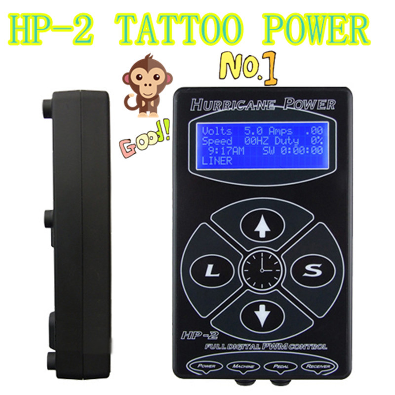 Professional Tattoo Power Supply Hurricane HP-2 Powe Supply Digital Dual LCD Display Tattoo Power Supply Machines Free Shipping(China (Mainland))