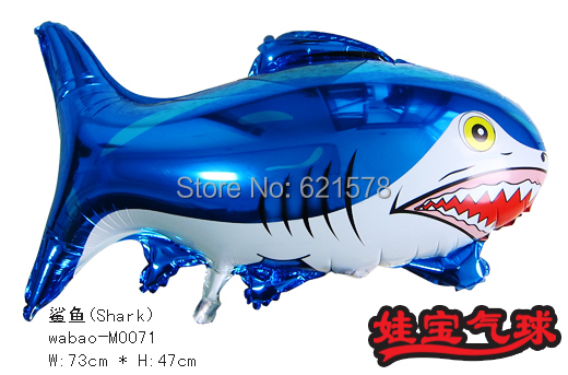 wholesale 10pcs/lot 73x47cm bule shark foil balloons helium balloons big animal shaped balloons(China (Mainland))