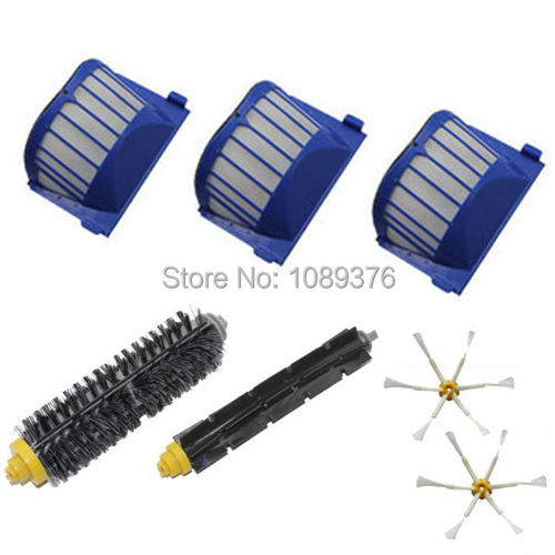New AeroVac Filter,Side Brush,Bristle and Flexible Beater Brush Combo for iRobot Roomba 600 610 620 625 630 650 660 Cleaner(China (Mainland))