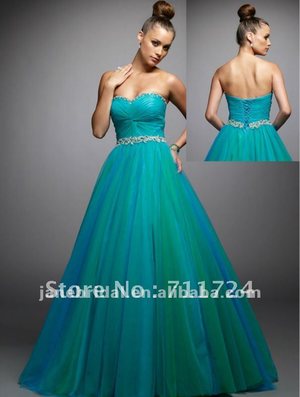 teal color sweetheart organza corset a line wedding dress