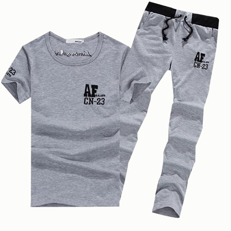 Sport Suit Men Brand Summer Style Print Letter T Shirt Men 2015 Tracksuit Set Tshirt Casual Joggers Pants Sportswear Men's Suit(China (Mainland))
