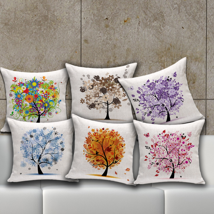 Hot Sale Trendy Home Decorative Life Tree Cotton Linen Throw Pillow Patio  Chair Back Cushion Retro