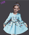 Long Sleeve Girl Dress 2016 Spring Cinderella Dress Kids Costume Brand Butterfly Print Kids Dresses For
