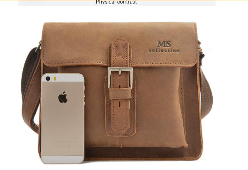2015 Fashion crazy horse leather bag men business bag leather document bag luxury leather messenger bag<br><br>Aliexpress