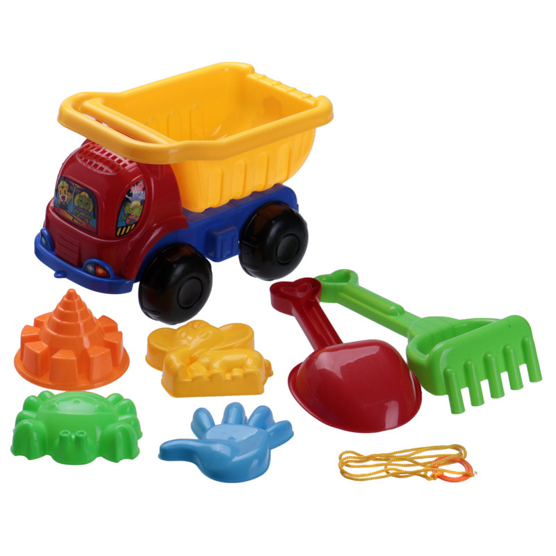 2016 Brand New lovely 7Pcs/Set Sand Dump Truck Spade Children Fun Sand Tools Play Beach Pit Toys Baby Bath Toys Set For Kids(China (Mainland))