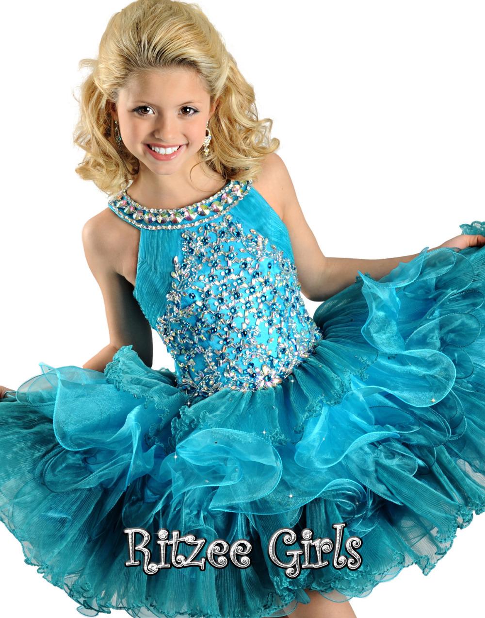 Fashion green pageant dresses for girls glitz halter for Dresses for girls for wedding