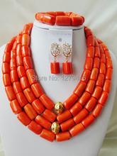 2016 Fashion orange african coral beads jewelry set nigerian wedding african beads Bridal jewelry Sets Free shipping  Aa1258(China (Mainland))