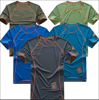 Бесплатная доставка 2015 новый открытый влагу дышащий быстросохнущий футболку с коротким рукавом быстрое высыхание скорость сушки мужчин