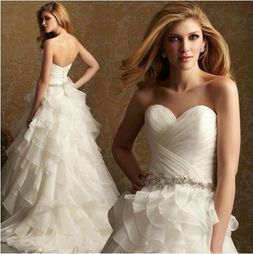 Свадебные платья Noiva 2015 Модные Линии Vintage Плюс Размер Органзы Свадебные Платья Пояса Свадебные платья Мантия De Брак Casamento