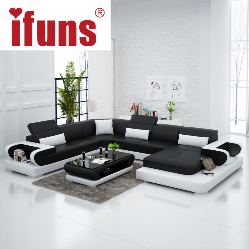 Ifuns couches for living room modern leather sectional for U shaped sofa in living room