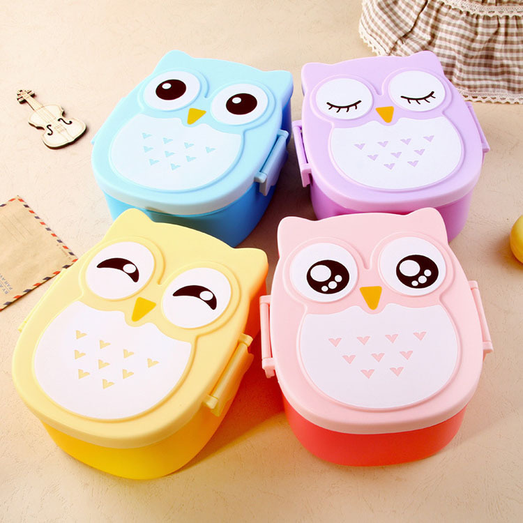 Owl Microwave Bento box Cartoon cute panelas Bento Lunch meal box tableware Easy-Open microwave oven fc(China (Mainland))