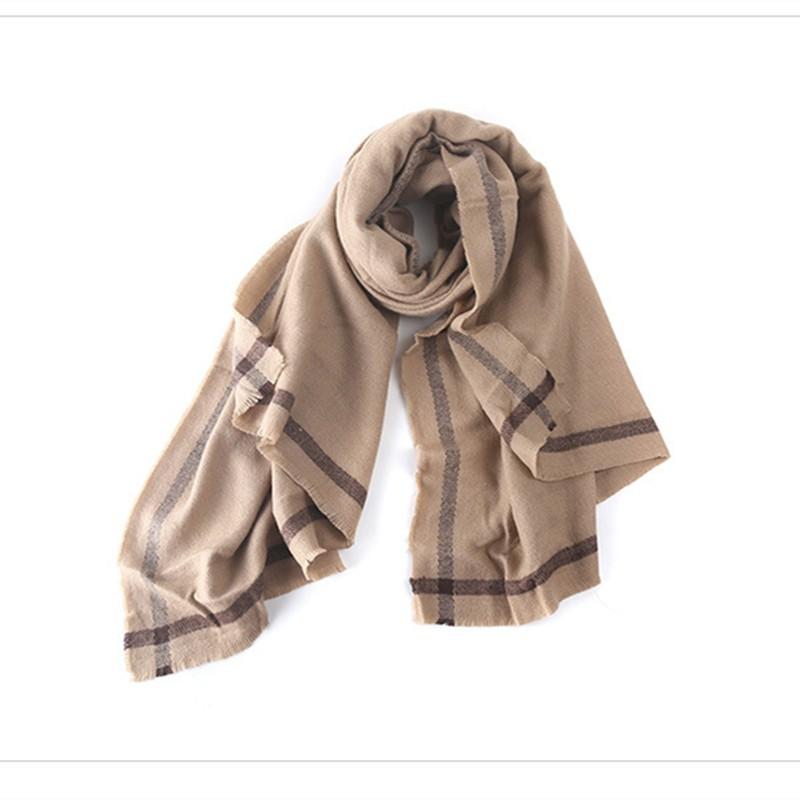 Gray Shawls Geometric Solid Striped Scarf Women Winter Infinity Scarf Luxury Brand Pashmina Cashmere scarf Bufandas