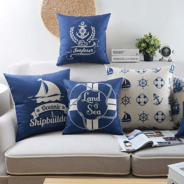 Бесплатная Доставка! Синий средиземноморский площадь бросить подушку/almofadas чехол, классический современный европейский морской чехлы домой decore