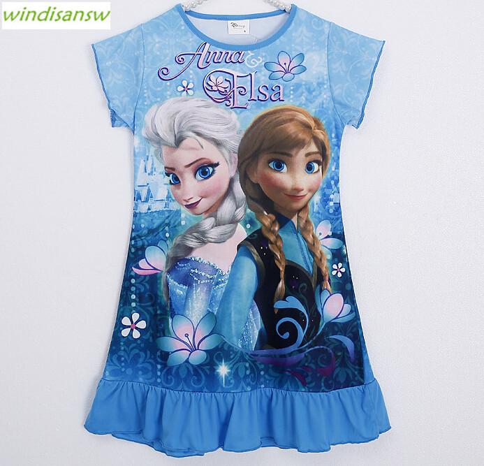 Anna Elsa Dress Children Clothing Summer Dresses Girls Baby Pajamas Costume Princess Nightgown Vestidos Infantis Clothes kid050(China (Mainland))