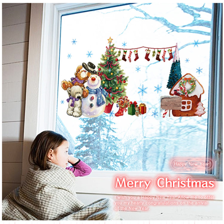 New Year Christmas DIY Christmas tree color socks Merry Christmas Wall Sticker Holiday Party Supply Decor Personalized ABQ6006(China (Mainland))