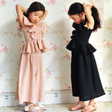 Buy 2016 summer hot sale children fashion suits girls linen butterfly sleeve tops+loose pants kid two-piece three-piece sets for $14.06 in AliExpress store