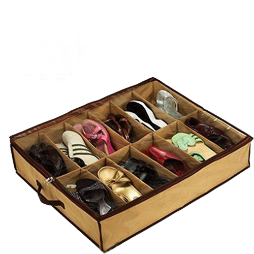 Tidy Shoe Storage Boxes Organiser Under Bed Store Pockets Shoes 12 Pairs Free Shipping (China (Mainland))