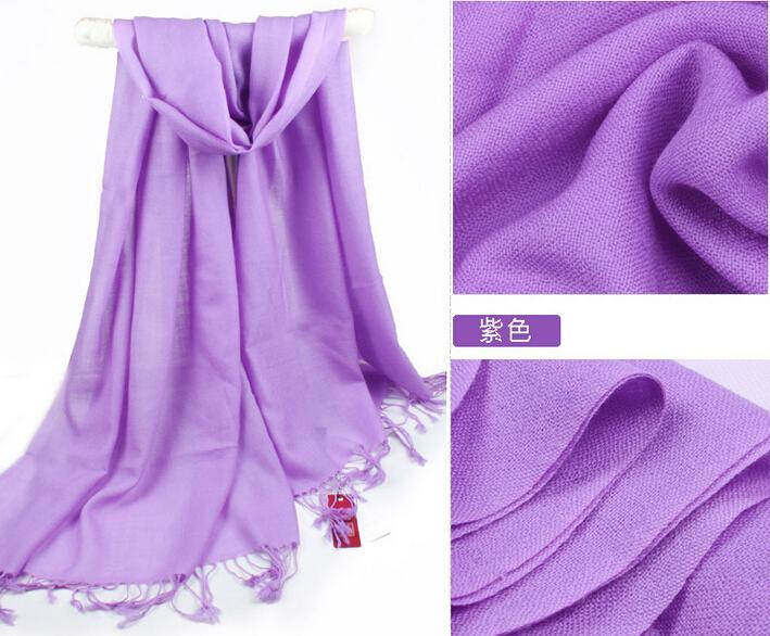Yellow Pink Purple 100% wool scarf Women Pashmina solid color long design tassel muffler scarf(Hong Kong)