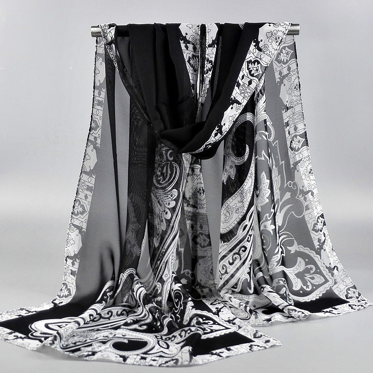 Long Chiffon Silk scarves 1PC 50*160cm Floral style flowers blooming print scarves black white scarves(China (Mainland))