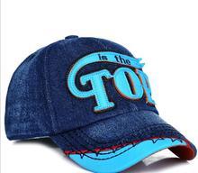 2016 New Kids Baseball Caps Baby Has & Caps Fashion Letter TOP Jean Denim Cap Baby Boys Girls Sun Caps for 3-7 Years Child(China (Mainland))
