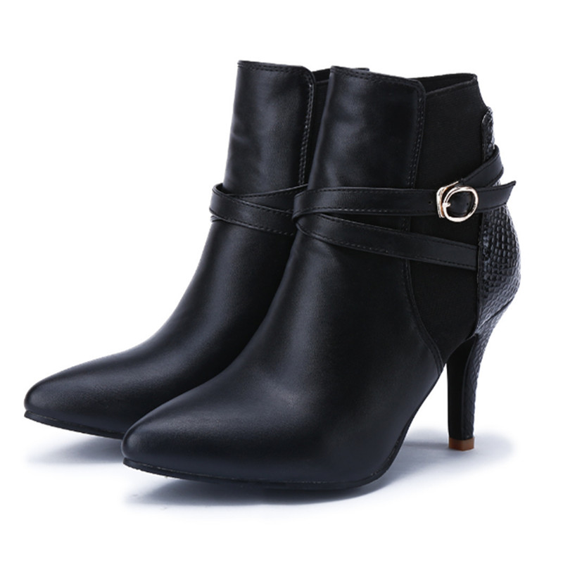 Fashion Womens Martin Boots Shoes Genuine Leather  Womens Ankle Boots Shoes Office Lady High Heels Shoes Autumn New 2015