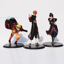3pcs/set Anime Naruto Uzumaki & Pain Uchiha Sasuke PVC Action Figure Collectible Model Toys Brinquedos Christmas Gifts - Happy Fun Kids store