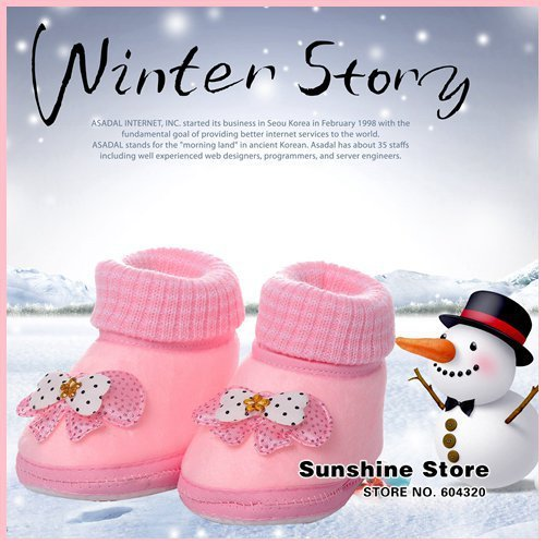 Sunshine store #2B2047  5 pair/lot(2 colors) Baby winter warm shoes polka dot bow Prewalker  fleece thickening winter boots CPAM