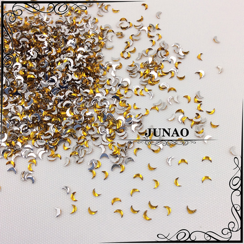 3mm Topaz Color Moon Acrylic Rhinestones Flatback Fancy Shape Nail Sticker Strass Crystal Stones For Jewelry Crafts Decorations(China (Mainland))