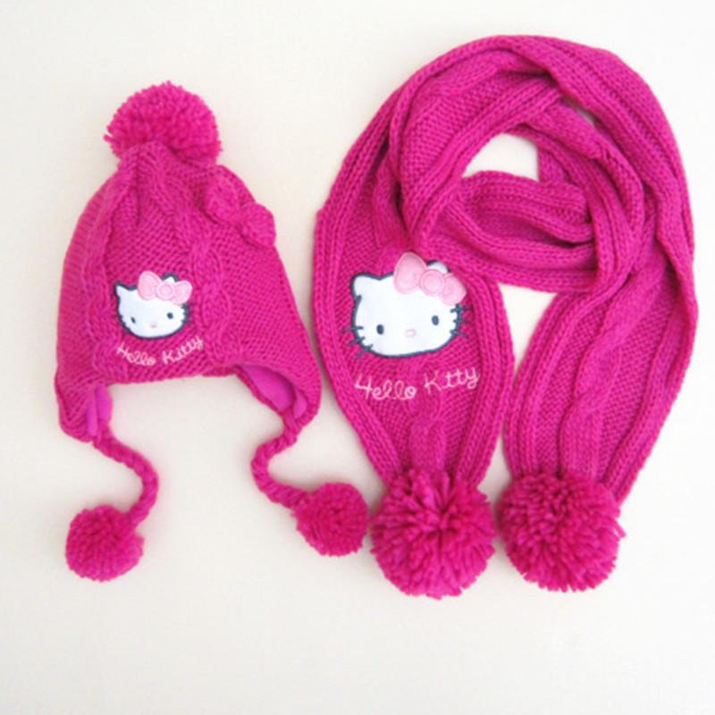 children hat set winter warm bomber Red rose white hello kitty Knitting hat scarf gloves children 2016 NEW(China (Mainland))