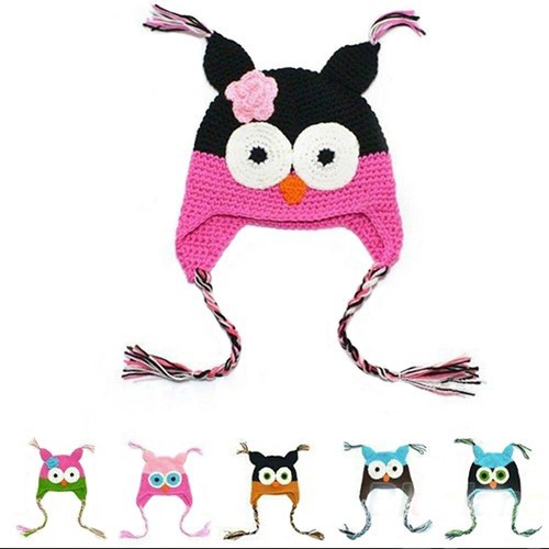 New Cute National Style Cartoon Multicolor Infant Toddler Handmade Knitted Crochet Baby owl hat with ear flap Animal Cap HT51(China (Mainland))