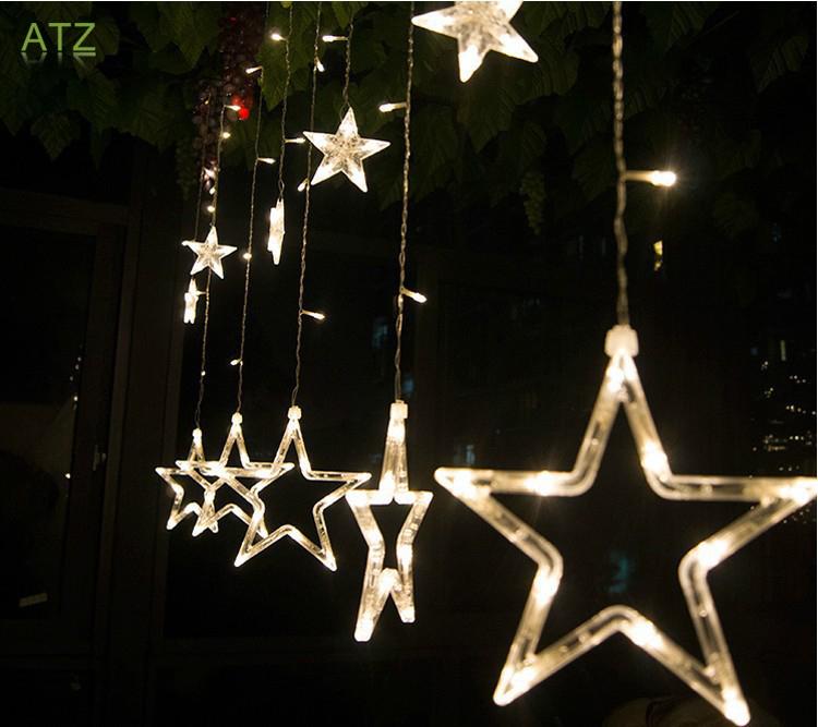 2M LED Star Curtain Lights with 12 stars Wedding Birthday Class Party LED Strings Ropes Tiras Luces Con Estrellas de la Navidad(China (Mainland))