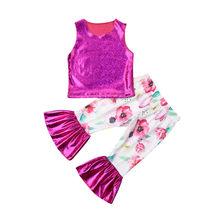 0-3Y חידוש פעוט בגדי ילדים תינוקת תלבושות קיץ מבריק גופיות אפוד פרחוני ארוך התלקח מכנסיים 2 Pcs תינוק ילדה סטים(China)