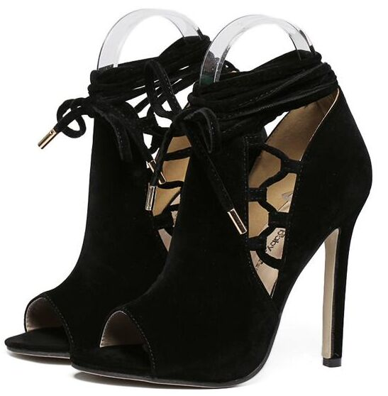 Size 4~9 Cool Black High Heels Women Pumps Lace Up Women Shoes zapatos mujer (Chenk Foot Length)