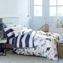 free shipping luxury fashion cartoon printed cotton dolphin sea ocean queen bedclothes quilt cover set bedding set(China (Mainland))