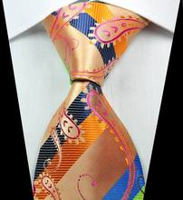 NT0340 Orange Green Paisley New Man s Jacquard Woven Silk Polyester Tie Classic Business Party Wedding