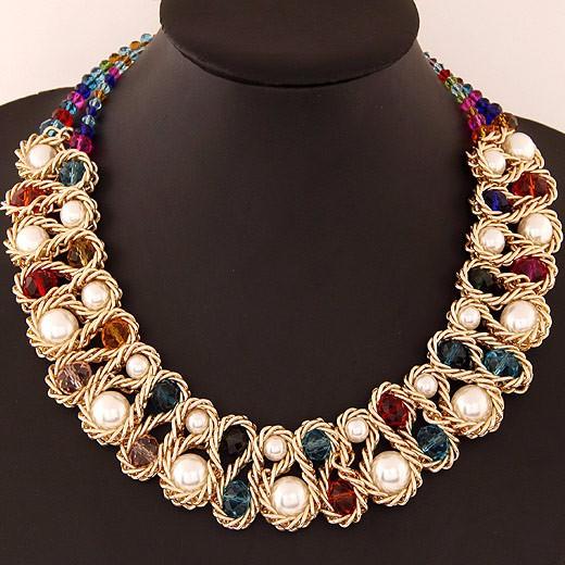HTB1h7.oIpXXXXaaXpXXq6xXFXXXr - Statement necklace Fashion for Women 2017 Chunky Bead Gold Chain Double Crystal Big Pearl Choker Necklaces & Pendants Jewelry