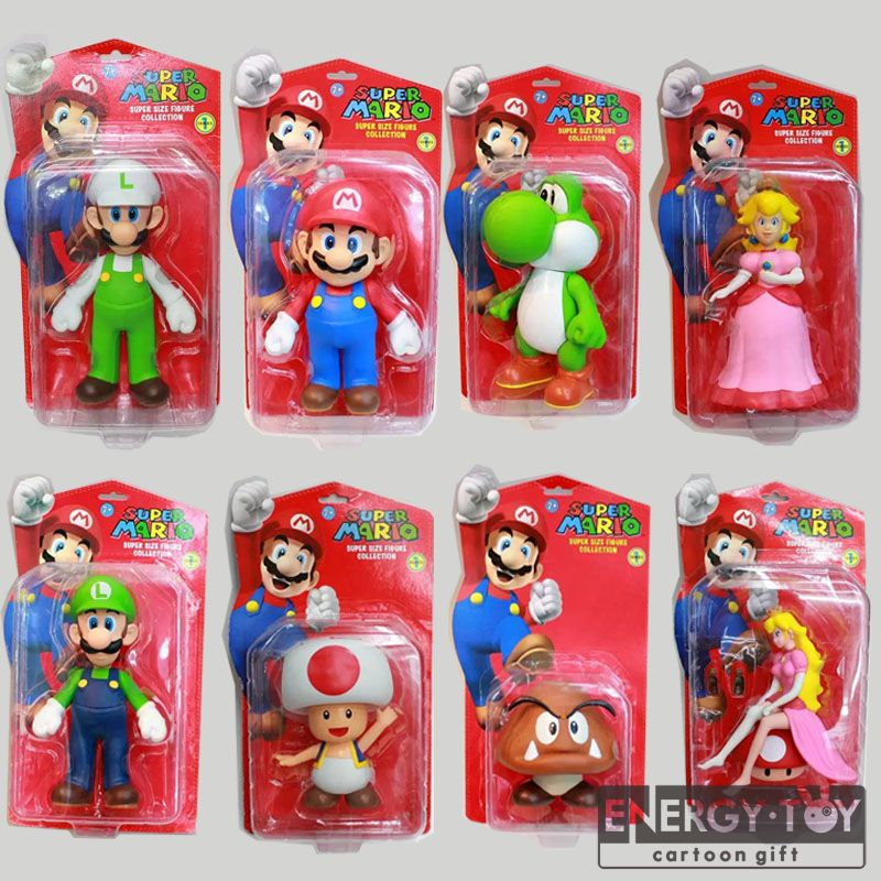 8styles Cartoon Super Mario Bros Mario Luigi Yoshi Peach Toad Goomba donkey kong 8-12cm PVC figure toy doll model(China (Mainland))