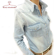 Plus Size Denim Shirt Women 2016 New Spring And Autumn Denim Coat Students Pure Color Long Sleeve Cowboy Shirt Camisa Feminina(China (Mainland))