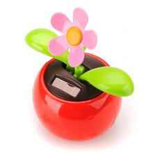 Nouvelle arrivée vente chaude mobile danse fleur solaire Flowerpot Swing solaire voiture jouet cadeau décoration plantes(China (Mainland))