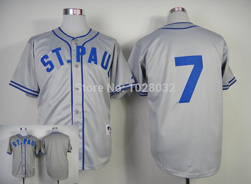 A+++ Quality Minnesota Twins Jersey #7 Joe Mauer Jersey Gray 1948 St. Paul Saints Turn Back The Clock Jersey,Embroidery Logo(China (Mainland))