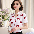 Blusas Summer Bow Print Women Shirts 2016 Short Sleeve V Neck Casual ladies Chiffon Blouse Plus