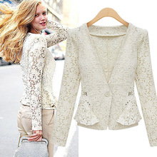Free shipping 2014 stylish hollow out lace blazer women coat women blazer jackets women clothes one button shawl cardigan coat