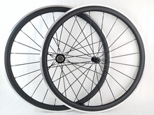 Buy 700c 38mm clincher 38C road bike carbon alloy wheelset UD 3K matte glossy 20/24 holes CN MAC 494 spokes aluminum braking surface for $350.99 in AliExpress store