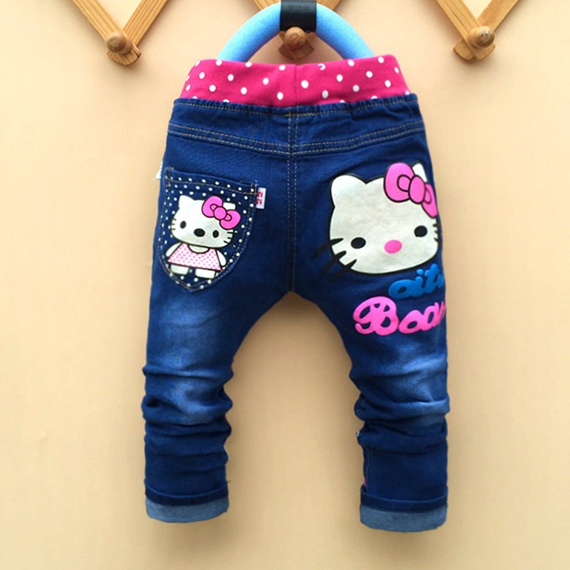 kids girls jean Hello Kitty pants cashmere pants elastic waist girls legging Trousers spring children Pants LH062(China (Mainland))