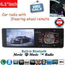 "2015 new Car Radio Player with Steering wheel controller,4.1""HD  FM/USB/1 Din/remote control port 12V Car MP3/MP4/MP5,bluetooth(China (Mainland))"